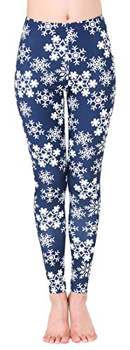 Uaderize Womens Ultra Soft Brushed Christmas Leggings Pants Navy Blue Snowflake Patterned M