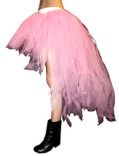 Neon UV Long 7 Layers Pointed Peacock Tutu Skirt (Baby Pink)]()