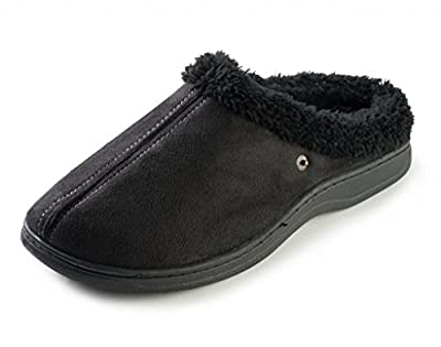 J. Fiallo Mens Stitched Faux Suede, Fleece Lined Clog Slippers