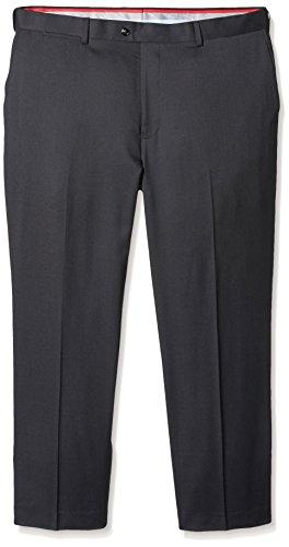 Louis Raphael Men's Rosso Washable Wool-Blend Flat-Front Dress Pant, Black, 40W x - Pants Wool Blend