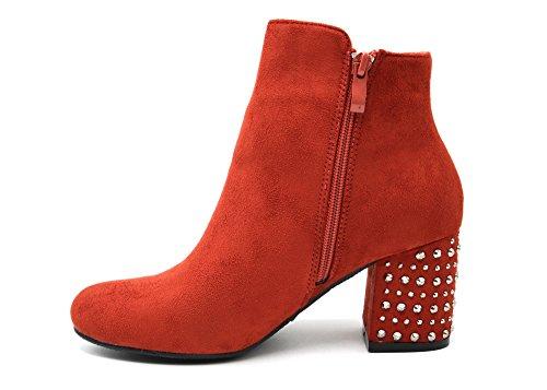 Oh My Shop SHF93 * Bottines Boots Effet Daim avec Talon Carré Orné de Clous Argentés (Rouge)