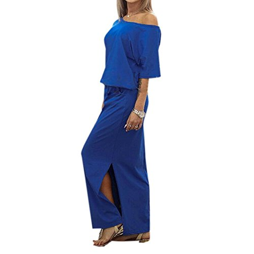 Misaky Women Summer Maxi BOHO Evening Party Pocket Dress (Asian L, Blue) (Dress Sales Australia)