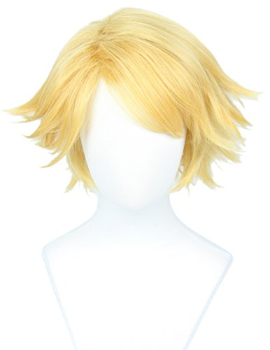 Linfairy Short Straight Blonde Cosplay Wig Halloween Costume Wig for Men sung]()