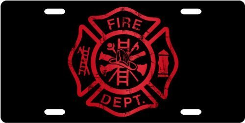 (Fire Dept Symbol License Plate Novelty Tag from Redeye Laserworks)