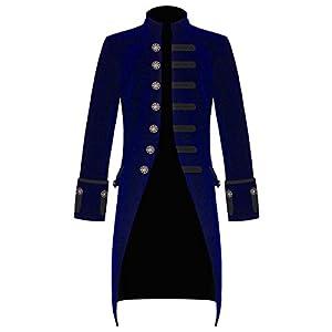 Mens Blue Velvet Vintage Goth Steampunk Victorian Handmade Frock Coat