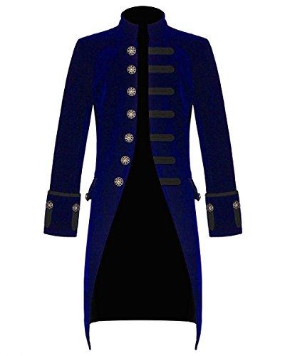Mens Velvet Vintage Goth Steampunk Victorian Handmade Frock Coat (XX-Large, -