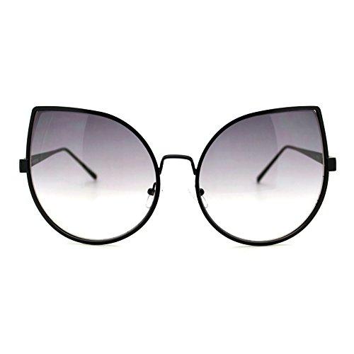 Womens Foxy Cateye Sunglasses Super Oversized Big Metal Frame - Sunglasses Foxy