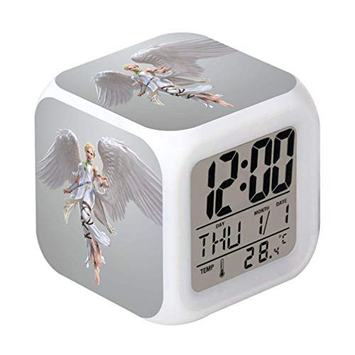 Laintone Led Alarm Clock Angel Design Creative Desk Table Clock Glowing Electronic Colorful Digital ()