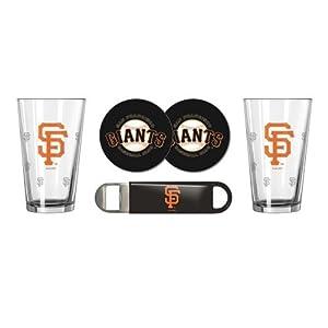 MLB Baseball SE Pint Glasses, Coasters & Bottle Opener Gift Set - Pint Glasses (2), Vinyl Coasters (2) & Stainless Steel Opener (1) (Giants)