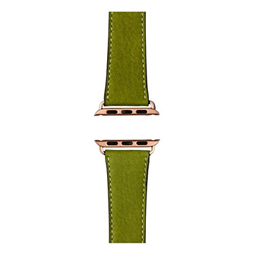 Roobaya | Premium Sauvage Leather Apple Watch Band in Moss Green | Includes Adapters matching the Color of the Apple Watch, Case Color:Rose Gold Aluminum, Size:38 mm by Roobaya (Image #3)
