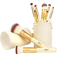 Matto Makeup Brushes Ivory Make Up Brushes 10-Piece Makeup Brush Set with Brush Holder