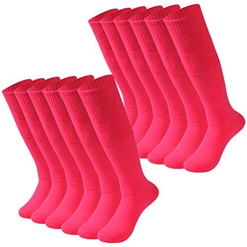 Getspor Soccer Socks, Unisex Fans Football Solid Team Uniform Long Tube Socks, Pink 12 Pairs