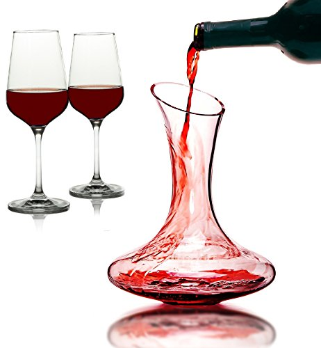 3 Piece Decanter Set (iBunny Crystal Red Wine Glasses Set with Decanter - 3 Piece Luxury Series - Perfect Wine Gift, Wine Accessories)