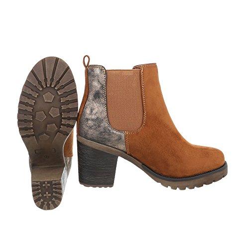 Stivali Stivali Scarpe 1 da Design blocco tacco donna Ital 363 Braun a Classico Stivaletti ArrOE