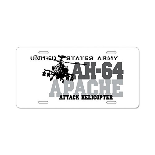 CafePress - Army Apache Helicopter Aluminum License Plate - Aluminum License Plate, Front License Plate, Vanity Tag (Helicopter Front)
