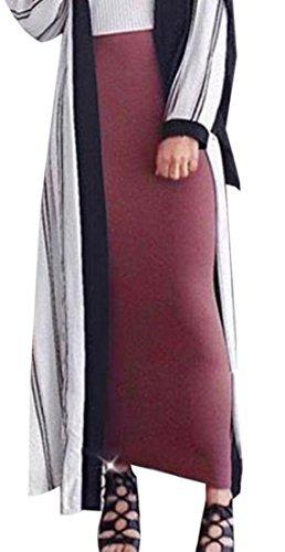 KLJR-Women Muslim Thick Elastic Waist Pencil Bodycon Knit Skirts Wine Red US L by KLJR-Women