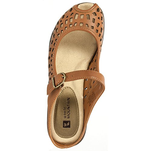 Toe Mountain Mule Women's White Marvy Camel Peep 6A7xvw
