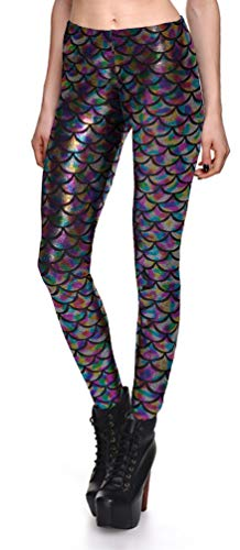 Jescakoo Digital Print Mermaid Fish Scale Shiny Leggings for Women Rainbow XXL