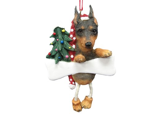 "Miniature Pinscher Ornament with Unique ""Dangling Legs"" Hand Painted and Easily Personalized Christmas Ornament"