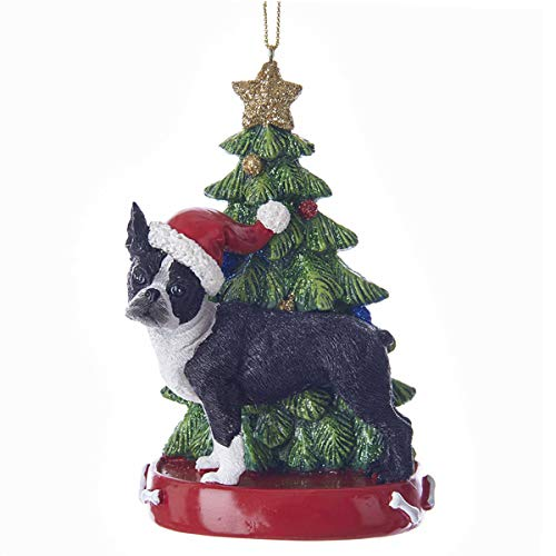- Boston Terrier Dog with Christmas Tree Ornament