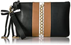 Wristlet with bow adornment and top zip.