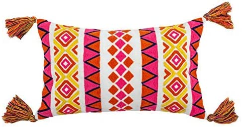 Divine Home Tribal Outdoor Pillow 12 x 20 2 Pack , Pink