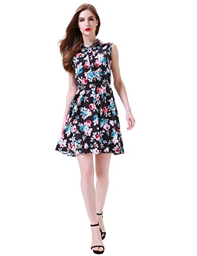 Knee Shorts Clothing Company - Aphratti Women's Sleeveless Half Placket Floral Print Above Knee A-Line Casual Dress Black Floral Large