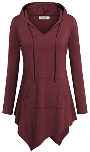 Tencole Long Tops for Women, High Low Long Sleeves Spring Stylish Tunic Sweatshirt Feminine Sexy Embellished Pleated Dress Hoodie Tops Oversized Unique Hooded T Shirts Halloween Outfits Wine XL ()