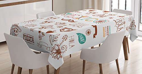 (Ambesonne Mexican Decorations Tablecloth, Mexican Latino Doodles Hipster Mustache Restaurant Cat Heart Viva Fiesta, Dining Room Kitchen Rectangular Table Cover, 52 X 70)