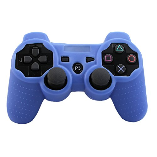 Alouflower Silicone Rubber Skin Grip Protective Cover Case For Playstation 3 PS3 Controller (Blue)