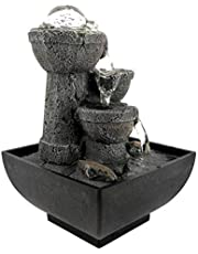 Tabletop Fountain, LED Illuminated Zen Meditation Indoor Waterfall Flowing Water Fountains with Ball, Best Feng Shui Gift for Office Bedroom Relaxation(US)