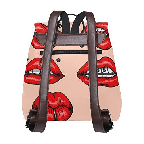 Röda läppar med piercing mönster ryggsäck handväska mode PU-läder ryggsäck ledig ryggsäck för kvinnor