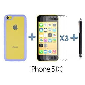 OnlineBestDigital - Transparent Case with Colorful Outlet for Apple iPhone 5C - Purple with 3 Screen Protectors and Stylus