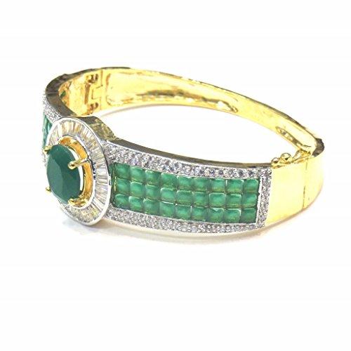 Jewelshingar Jewellery Diamond Looking Free Size Bracelet For Girls ( 14757-bcad-green ) by Jewelshingar