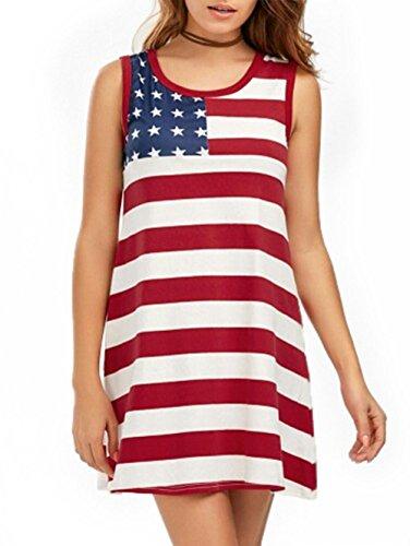 Women's Patriotic American Flag Printed Asymmetric Short Sleeve Casual T-Shirt Dress S-2XL (S, Type IV)