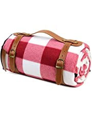 HappyPicnic Extra Large Picnic Blanket Rug Outdoor Blankets 87 Inch x 67 Inch with Waterproof Layer for Picnics Camping | Sand Proof Mat with Adjustable Shoulder Strap - Red