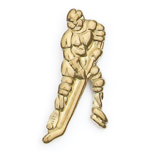 Hockey Player Gold Chenille Sports Lapel Pin