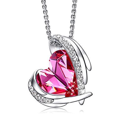 - CDE Jewelry Set for Women Girls Pink Angel 18K White Gold Plated Embellished with Crystals from Swarovski Pendant Necklace and Earrings Heart Shape for Mom Gift for Mothers Day