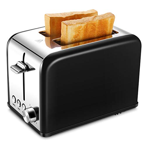 Toaster 2 Slice, Small Wide Slot Black Toasters Two Slice, Stainless Steel Kitchen Toaster for Bagels Bread