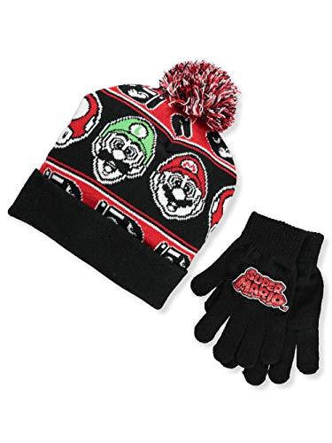 Nintendo Super Mario Boys Beanie Winter Hat and Glove Set [4015] (Black)