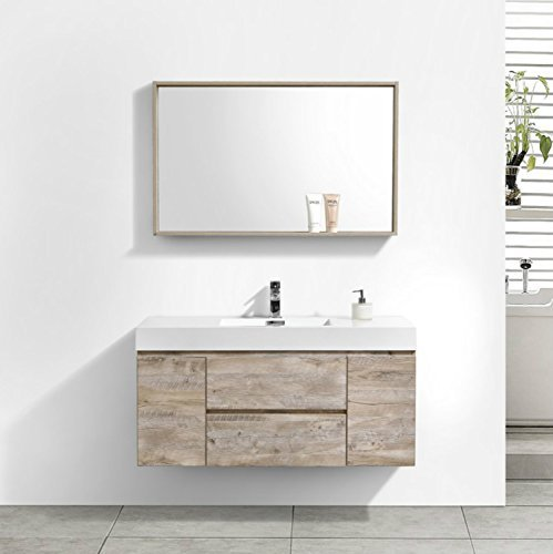 (Enovaus Bliss 48 inch Single Sink Wall Mount Modern Bathroom Vanity Cabinets and Acrylic Sink Combo (48 inch, Nature Wood))