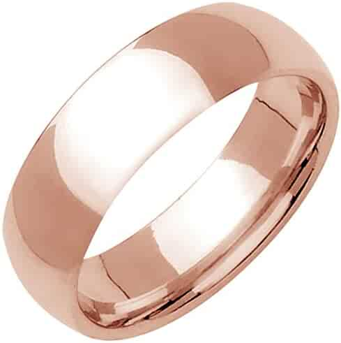 14K Rose Gold Traditional Classic Men's Comfort Fit Wedding Band (7mm)