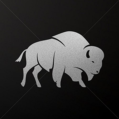 Animals Earth Various sizes Decals Decal Bison Buffalo Decoration Motorbike Bicycle Vehi Silver-Matte (14 X 8.83 Inches)