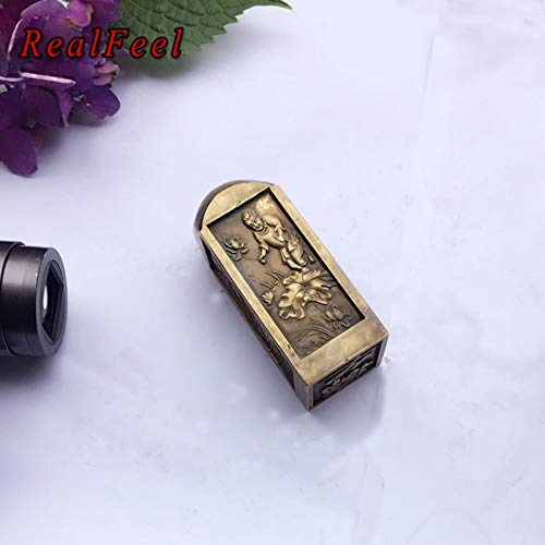 ZAMTAC Real Feel 8.73.2CM fengshui Four Treasures of Chinese Study Antique Seal Mental Toy Home Decoration Collectible