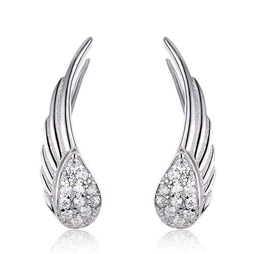 QMM earring Pendant earrings s925 Silver Angel Wings Cz Ear Climber Stud Earrings for Women Girls Ear Jacket Jewelry Girl Accessories Unique Party