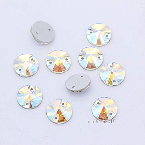(Pukido 16p 16mm Color Round Rivoli Flat Back Crystal Glass 2-Hole Stone sew on Rhinestone Trim Buckle Jewels Applique for Wedding Dress - (Color: Clear AB))
