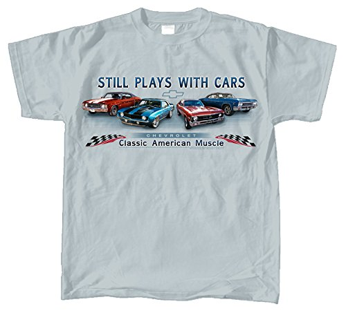 Chevy Chevelle, Camaro, Nova & Impala Muscle Car T-Shirt 100% Cotton Preshrunk, Grey, X-Large -