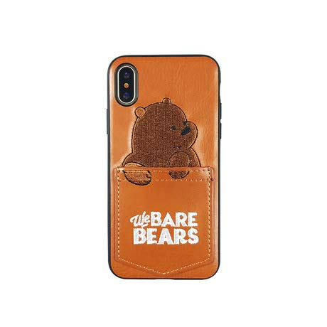 不十分植物学安全性ボクラベアベアーズ iPhoneケース iPhone7 iPhone8 アニマル 動物 フェイク レザーポケット付き カード収納 ユニーク 熊 彼女 彼氏 プレゼント お洒落 かわいい アイフオンケース WE BARE BEARS ポケット 刺繍 可愛い キャラクター くま 熊 クマ パンダ はんだ 動物 カード入れ (iPhone7/8, 茶色)
