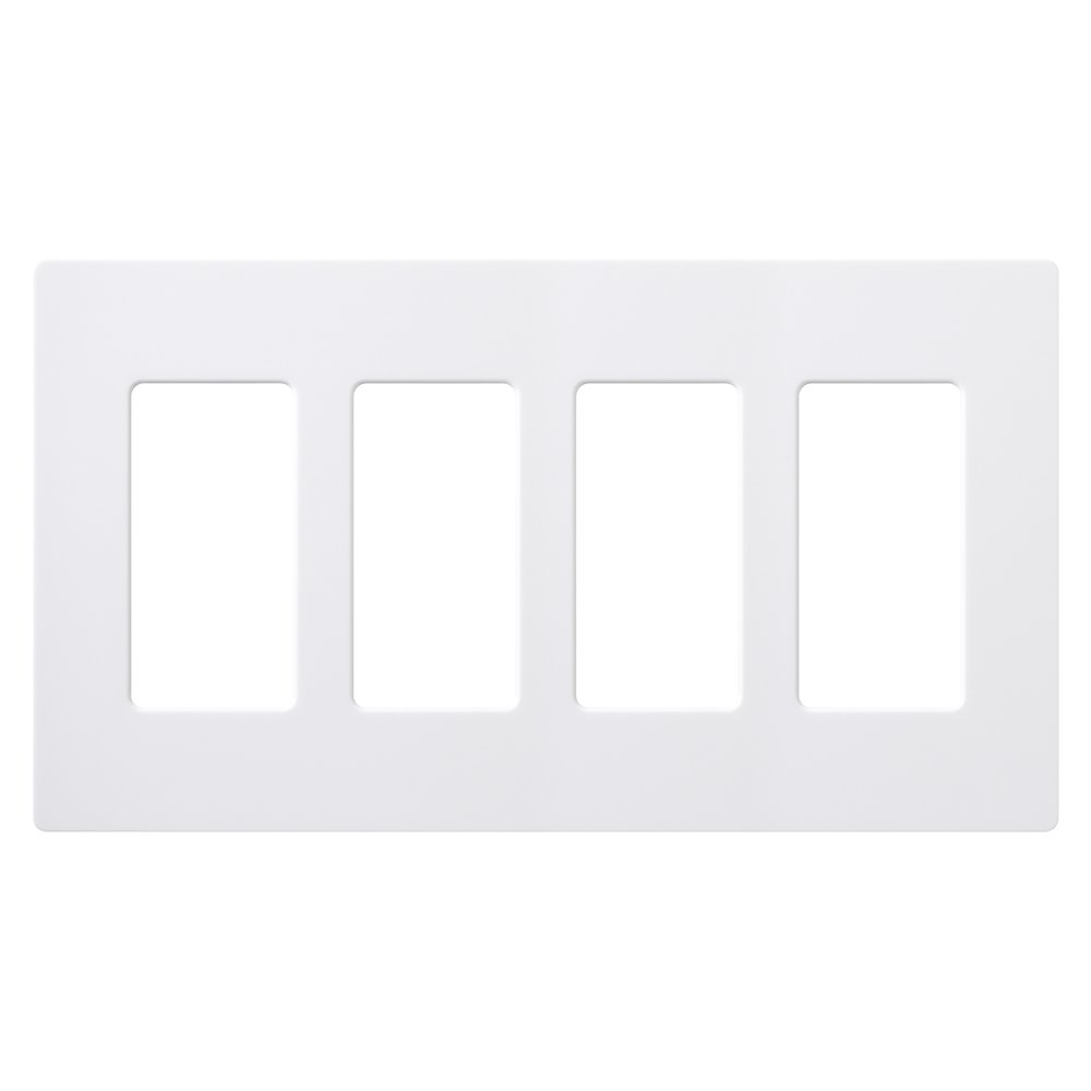 Lutron CW-4-WH-12 Claro 4-Gang Wallplate, White, 12-Pack