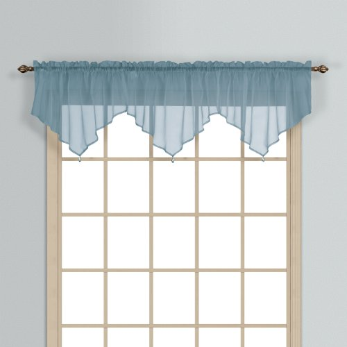 (United Curtain Monte Carlo Sheer Ascot Valance, 40 by 22-Inch, Slate Blue)